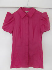 BNWOT Ted Baker Coral Pink Stretch Cotton Shirt Blouse puff sleeves Sz 1 (UK 8)
