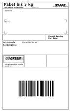 1 DHL Paketmarke 5 kg DHL Deutschland Sendungsverfolgung bis 500€ Versandmarke Y