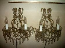ANTIQUE FRENCH SCONCES MACARONI BEADS PRISMS GILT FRAME FRENCH FARMHOUSE 1920's