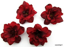 """Four 2.5"""" Ruby Red Apple Blossom Hair Clip Lot, Pin Up Updo,Hat,Scarf,Rockabilly"""
