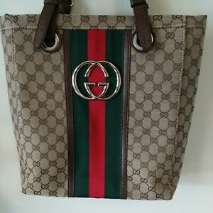 """Vintage GUCCI Tote Bag, 14"""" Tall Canvas Leather, Large Logo, Unique, Beautiful!!"""