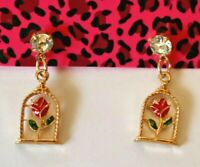 Betsey Johnson Crystal Rhinestone Enamel Flower Rose in Birdcage Post Earrings