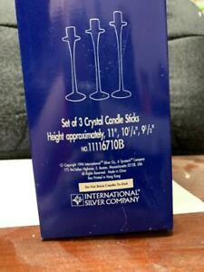 1995 International Silver Company Set of 3 Crystal Candle Stick Holders
