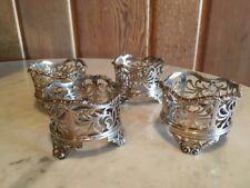 Four 18th Century English 1794-95 Sterling Silver Pierced Cast Salt Cellars