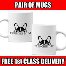 Pair of mugs - FRENCHIE MUM & FRENCHIE DAD. French Bulldog Mugs Cups Gift UK