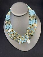 Bohemian Blue Beaded Mother Of Pearl  Drop Multi Strand necklace 16-18""
