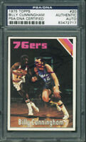 76Ers Billy Cunningham Authentic Signed Card 1975 Topps #20 PSA/DNA Slabbed