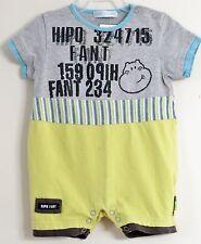 HIPO FANT Size 6 Months Boys Gray Yellow Short Sleeves Bodysuit Romper
