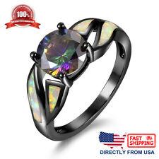 Women's Fire Opal Inlay & Rainbow Round Cubic Zirconia Black Rhodium Plated Ring