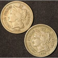 1865 3 Cent Nickel Pair - (2) Coins - Free Shipping USA