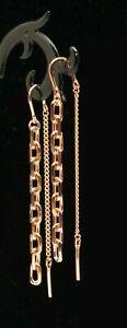 "Threader Chain Earrings Rose Gold Filled 925 Sterling Silver 2"" 5cm Long"