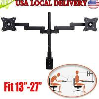New Dual Arm Monitor Desk Mount Computer TV Screen Bracket Stand 13-27'' inch US