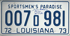 JAWS 1st Victim autographed License Plate Louisana 1972 73 Chrissie added