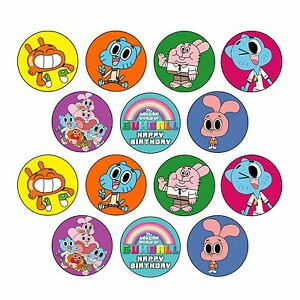 24x Amazing World of Gumball Edible Cupcake Toppers Wafer Paper 4cm (uncut)