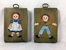 Vintage - Pair of Raggedy Ann & Andy - Hand Painted - Wood Plaques