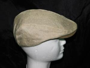 Stetson S M Light Brown Cabbie Flat Hat Flax Linen Tweed Cotton Lined Summer S/M