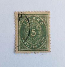 1882 Iceland stamp - 5aur - green - perf. 12 1/2 - mi.#13B - used