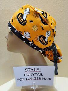 Casper (ghost) Halloween Women's Ponytail Surgical Scrub Hat/Cap Handmade