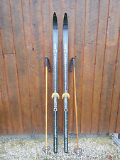 "OLD Interesting Vintage Wooden 73"" Long Skis DARK Finish Signed LAMPINEN"