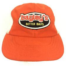 Vtg Bagley's Better Baits Hat Patch Fishing Cap Logo USA Mesh Snap Back Trucker