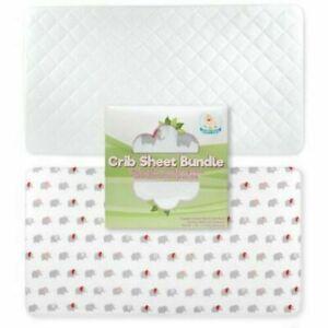 Baby Fitted Crib Sheet + Bamboo Fabric Mattress Protector Set Organic Cotton 2pc