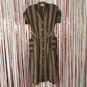 Vintage 1940s Manford Casuals brown striped Swiss dot shirt dress w/ Belt - XS