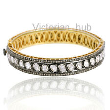 Victorian Natural Rose Cut Diamond & Diamond Polki Bangles Jewelry Gift For Wife