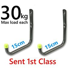2 Large Heavy Duty Storage Hooks Garage Tool Bike Ladder Wall Mounted Brackets