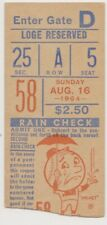 "PHILADELPHIA PHILLIES ""PHOLD"" TICKET STUB VS. NY METS  AUGUST 16,1964"