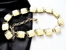 """Vintage Necklace Square Thermoset Cream Confetti With Gold Tone Metal 16-1/2"""""""