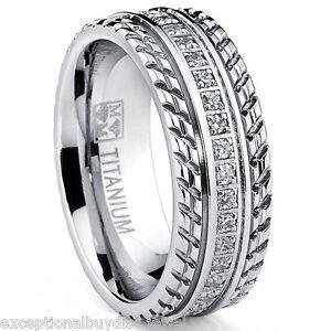 MENS OR WOMENS eternity T TITANIUM LCS. DIAMOND WEDDING BAND RING SZ 11 + GIFT