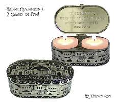 Nickel Shabbat Candlestick Candle Holders Jerusalem Travel Box + 2 Tea Candles