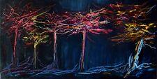 Art contemporain PAYSAGE ABSTRAIT Peinture Tableau de HZEN -80x40- ARBRES FLEURS