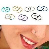 2Pcs Stainless Steel Nose Ring Open Hoop Earring Unisex Body Piercing Jewelry