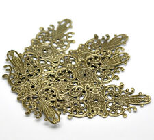 30 Pop Bronze Tone Filigree Flower Wraps Connector Embellishments Finding