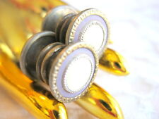MOTHER OF PEARL SHELL LILAC PURPLE CELLULOID ART DECO ROUND SNAP LINK CUFFLINKS