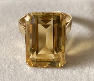 Vintage 11 Carat Emerald Cut Natural Citrine 17k Yellow Gold Ring Size L