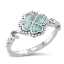 Four Leaf Clover Lucky Charm Ring Sterling Silver 925 Genuine Larimar Sizes 5-10