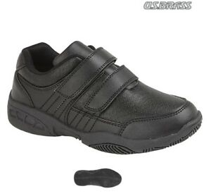 Boys Black School Shoes US Brass Touch Fastening Size 10 - 2 UK