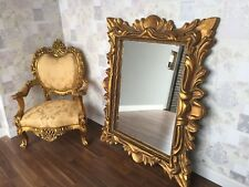 LARGE ANTIQUE GOLD GILT DRESS FRENCH CHIC LEANER MIRROR