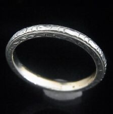Art Deco 14k White Gold Wedding Band Ring Beautiful Engraving Work Vintage
