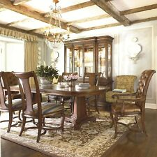 Thomasville Deschanel 8 Pc Dining Set w/ Table, Leather Chairs, & Marble Buffet