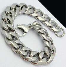Hot Stainless Steel Curb Link Chain Bracelet 13mm 9 inch High Polished For Men