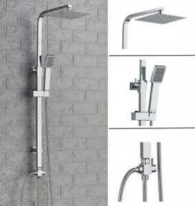 New Design Chrome Bathroom Square Twin Head Adjust Rigid Riser Shower Rail Kit