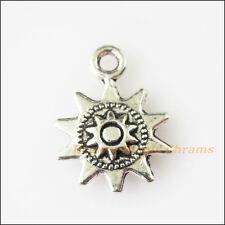 15Pcs Antiqued Silver Tone Sun Flower Charms Pendants 12.5x17mm