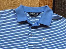 Vintage Burberrys Short Sleeve Mens Polo Shirt Crest Logo USA sz L Blue Striped