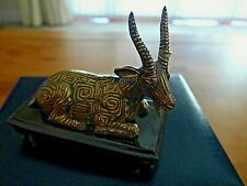 More details for halcyon days  chou dynasty goat fine porcelain painted in gilt bronze 53 of 250
