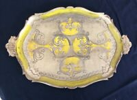 VINTAGE FLORENTINE DECORATIVE TRAY ITALIAN GOLD YELLOW VENETIAN SERVING RETRO