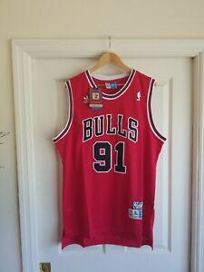 NWT DENNIS RODMAN #91 Chicago Bulls RED Jersey Throwback Classic Retro XL
