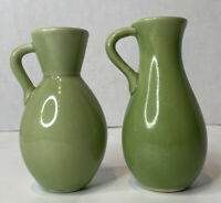 ART POTTERY PITCHERS VASES WITH HANDLE GREEN PAIR DECORATIVE